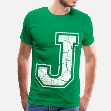 J Letter J in white in the used look - Men's Premium T-Shirt