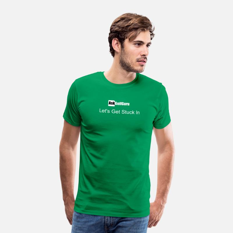 Golf T-Shirts - Mark Crossfield AskGolfGuru Let's get stuck in T - Men's Premium T-Shirt kelly green