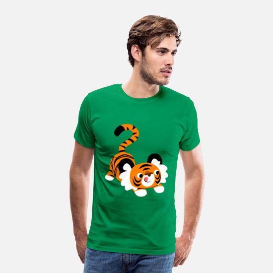 Pounce T-Shirts - Cute Cartoon Tiger Ready To Pounce!! by Cheerful Madness!! - Men's Premium T-Shirt kelly green
