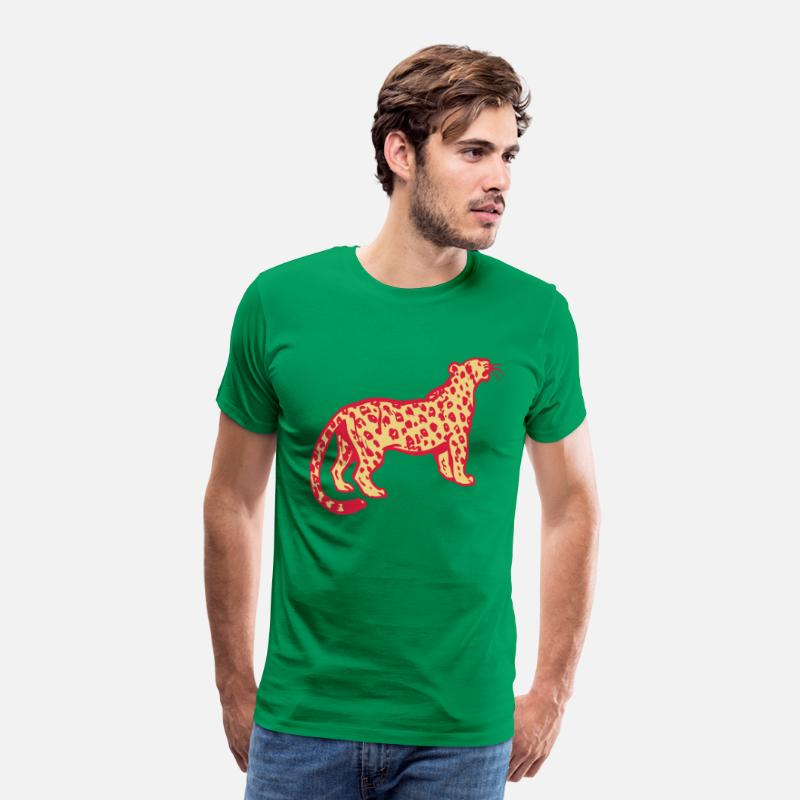 Leopard T-Shirts - Curious Leopard by Cheerful Madness!! - Men's Premium T-Shirt kelly green