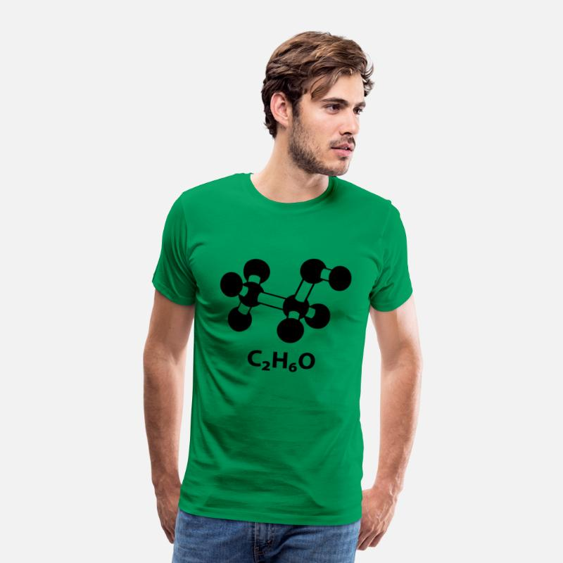 Alcohol T-Shirts - alcohol molecule with formula C2H6O - Men's Premium T-Shirt kelly green