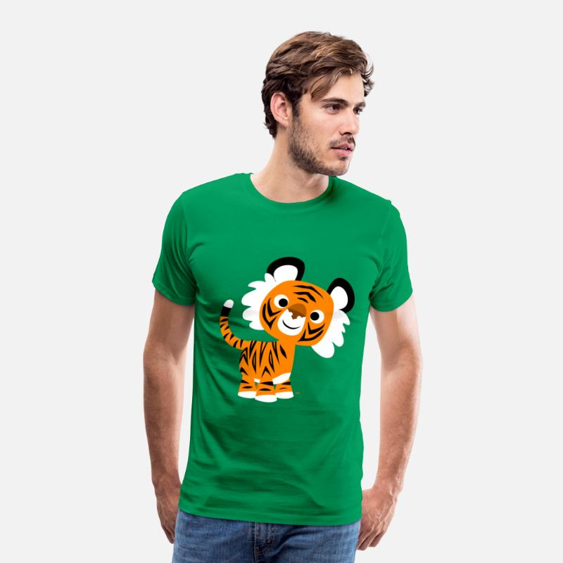Art T-Shirts - Hello!! Cute Cartoon Tiger by Cheerful Madness!! - Men's Premium T-Shirt kelly green