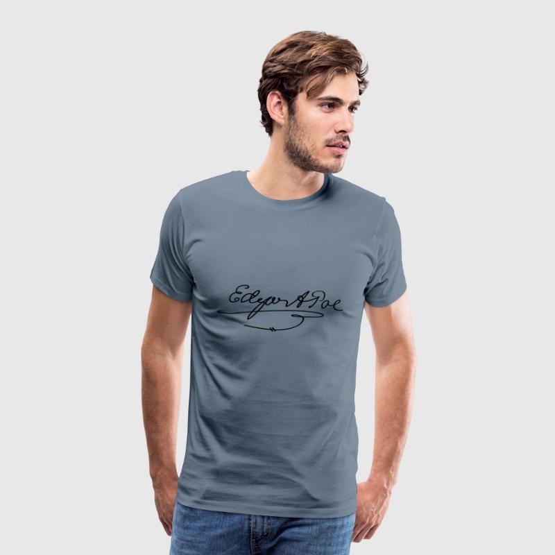 Edgar Allan Poe Signatur Herre premium T shirt blågrå