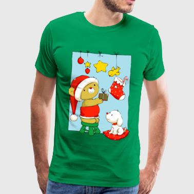 Christmas Bear doing Christmas decorations - Herre premium T-shirt