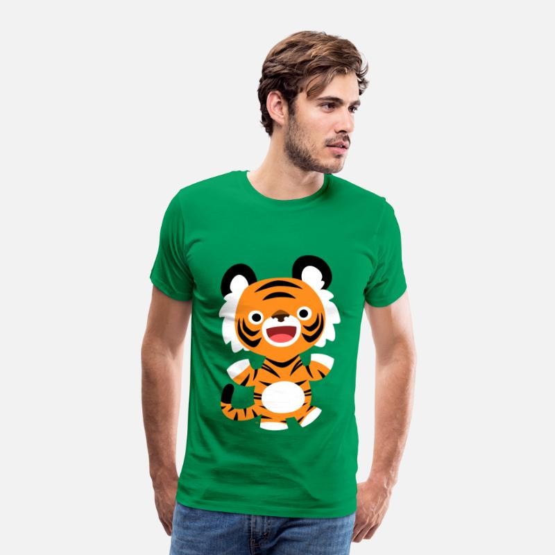 2010 T-Shirts - Cute Merry Cartoon Tiger by Cheerful Madness!! - Men's Premium T-Shirt kelly green