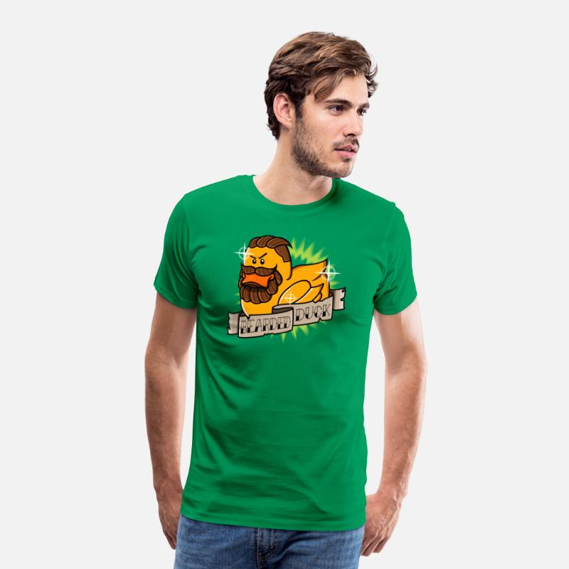 Brilliant T-Shirts - Bearded Duck - Men's Premium T-Shirt kelly green