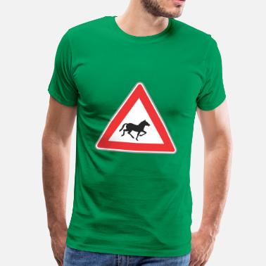 Triangle Sign Road Sign horse triangle - Men's Premium T-Shirt