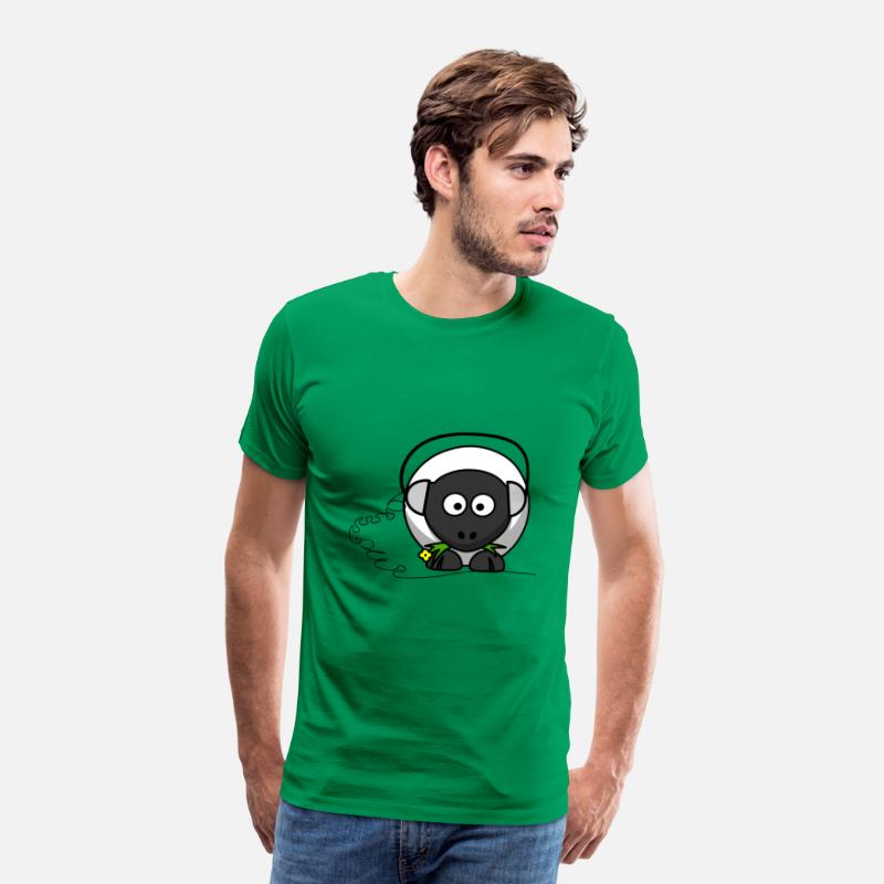 Funny Sheep T-Shirts - Funny sheep with headphones - Men's Premium T-Shirt kelly green