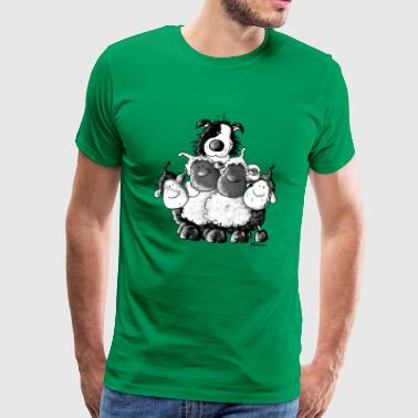 Border Collie and sheep - dog - t-shirt design - Men's Premium T-Shirt