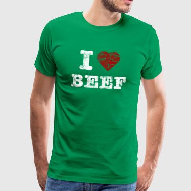 I Love BEEF vintage light - Camiseta premium hombre