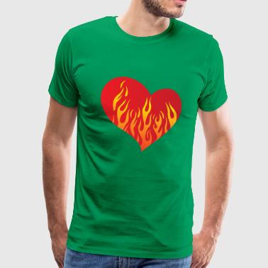 Heart with fire eu - Men's Premium T-Shirt