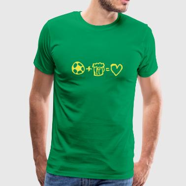 football+beer=love - Premium T-skjorte for menn