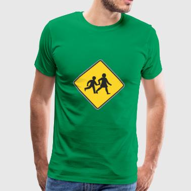 Road Sign running mother and sun - Men's Premium T-Shirt
