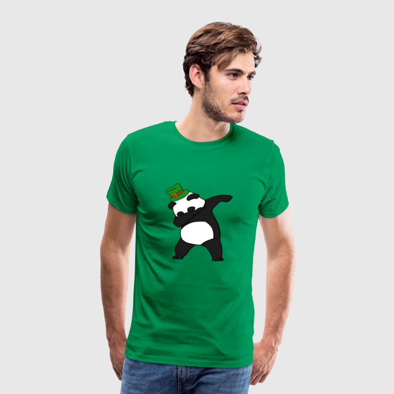 Dabbing St Patrick's Day Panda Leprechaun Top Hat - Men's Premium T-Shirt
