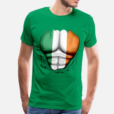 St Patricks Day Ireland Flag Ripped Muscles, six pack, chest t-shirt - Men's Premium T-Shirt