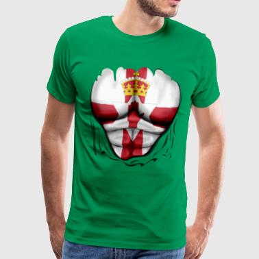 Northern Ireland Flag Ripped Muscles, six pack, chest t-shirt - Men's Premium T-Shirt