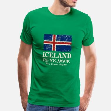 Flag Of Iceland Iceland Vintage Flag - Men's Premium T-Shirt