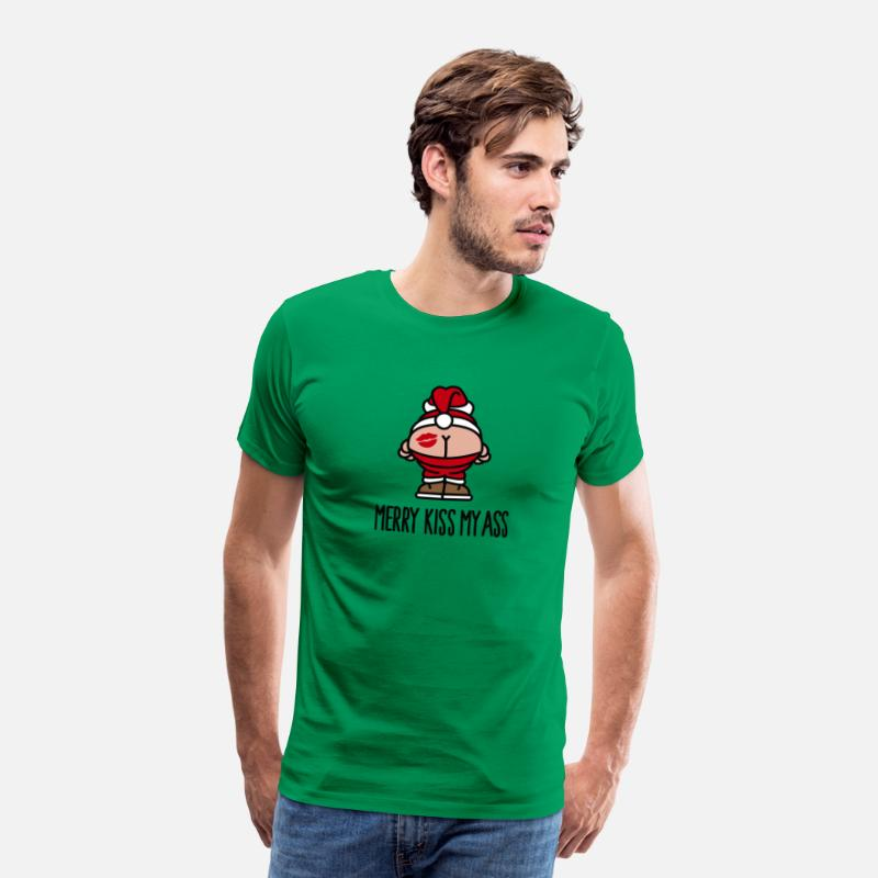 Kerstman T-Shirts - Merry kiss my ass - Mannen premium T-shirt kelly groen