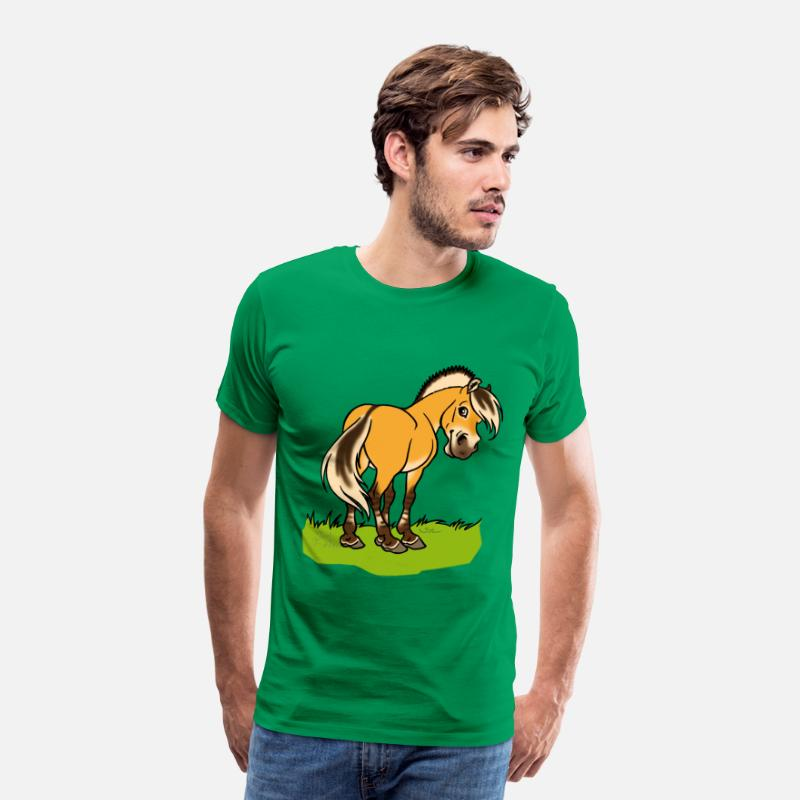Cheval T-shirts - Cheval fjord souriant - T-shirt premium Homme vert