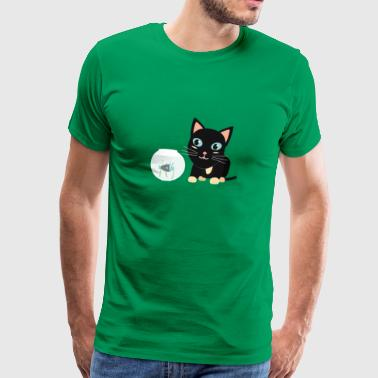 Cat with fish Aquarium - Men's Premium T-Shirt