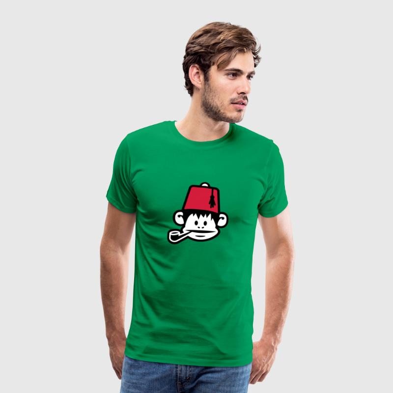 monkey fez ape primat affe pipe smoker - Men's Premium T-Shirt