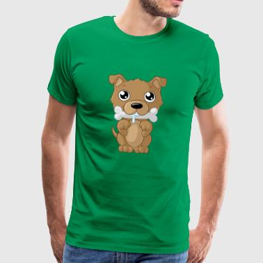 Cartoon hond knabbelen - Mannen Premium T-shirt