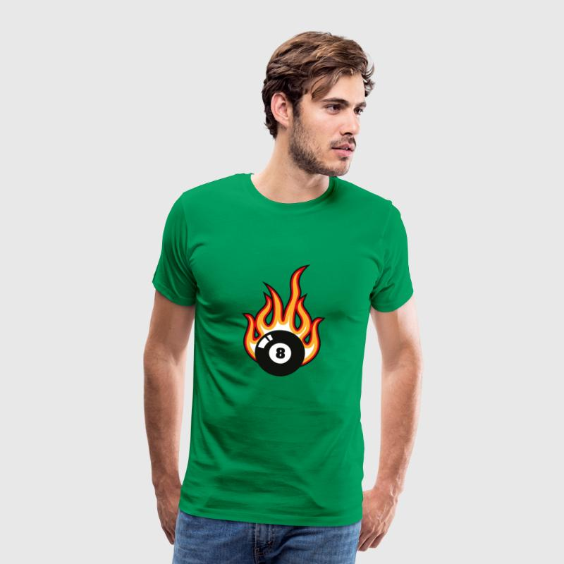 Billiard Eight Ball in Fire - Men's Premium T-Shirt