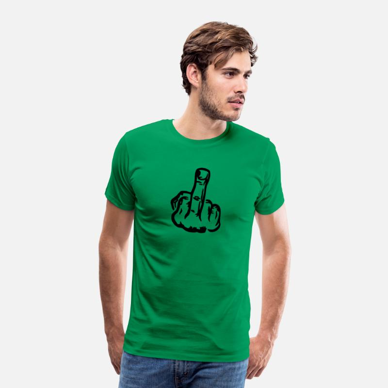 Fuck You T-Shirts - Middle finger vector - Fuck off - Men's Premium T-Shirt kelly green