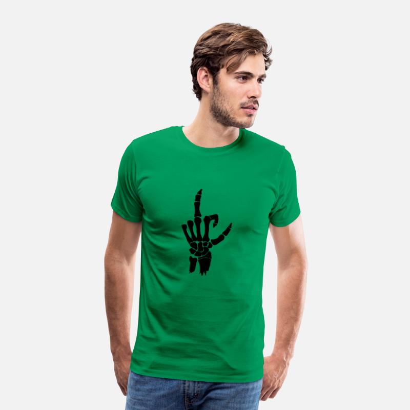 Finger T-Shirts - F *** fingers; Stinky finger bone hand - Men's Premium T-Shirt kelly green