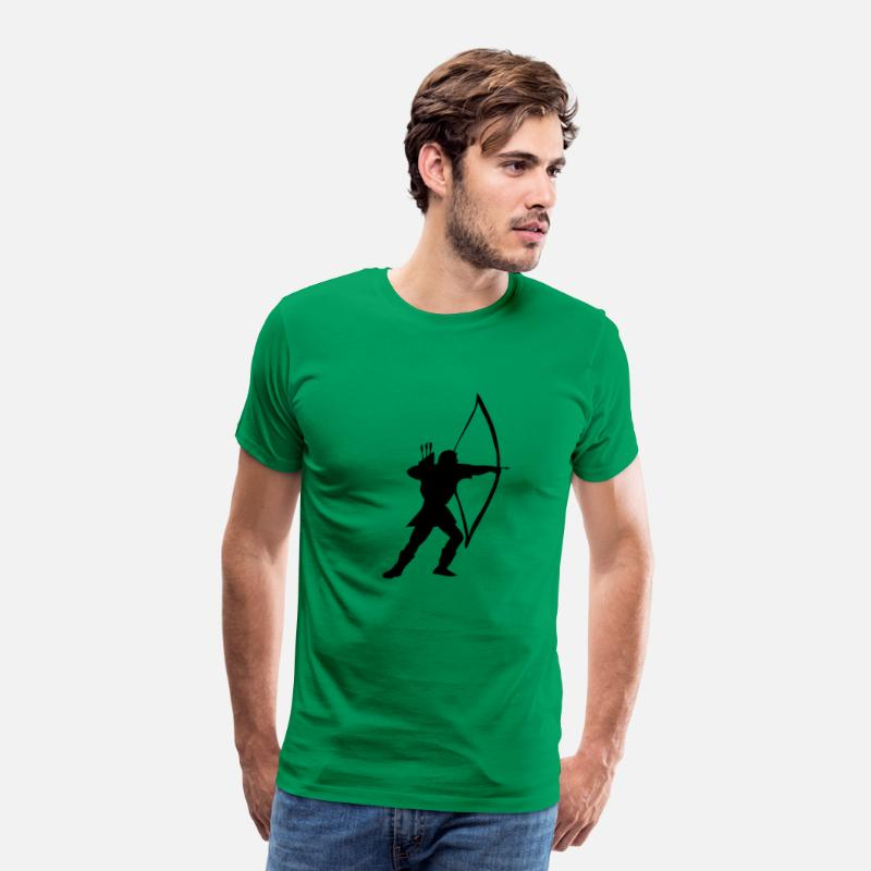 Long Bow T-Shirts - longbow archer medieval  - Men's Premium T-Shirt kelly green