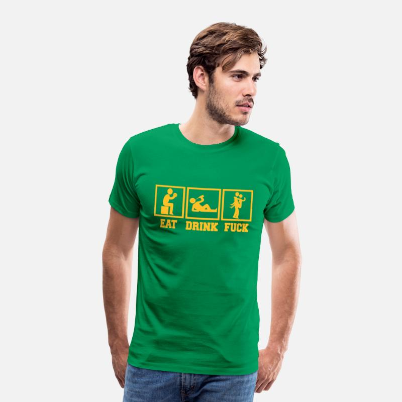 Drinking T-Shirts - Eat Drink Fuck Party Motiv - Men's Premium T-Shirt kelly green