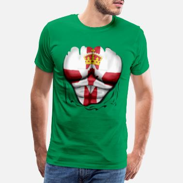 Ulster Northern Ireland Flag Ripped Muscles, six pack, - Men's Premium T-Shirt