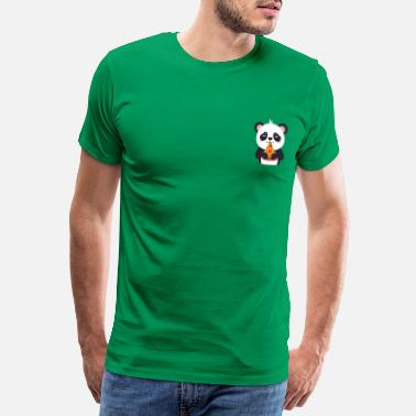 Cute Cute Panda Pizza Illustration - Men's Premium T-Shirt