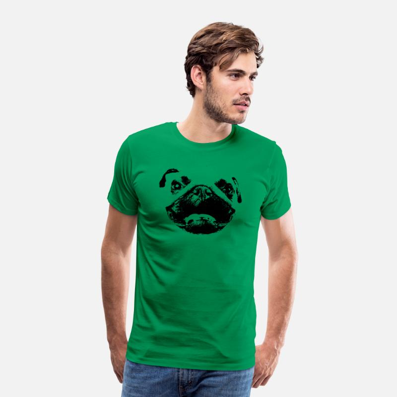 Dog Owner T-Shirts - Pug face silhouette Cute dog gift idea - Men's Premium T-Shirt kelly green