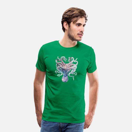 Space T-Shirts - SPACE SQUID - Men's Premium T-Shirt kelly green