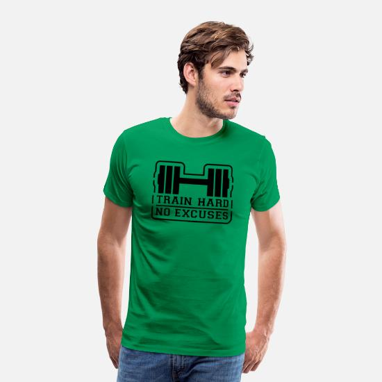 Hantel T-Shirts - train_hard_no_excuses__f1 - Männer Premium T-Shirt Kelly Green