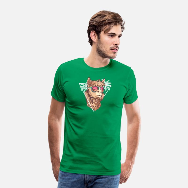 Homedecor T-Shirts - Summer Llama with Sunglasses - Llama Gift - Men's Premium T-Shirt kelly green