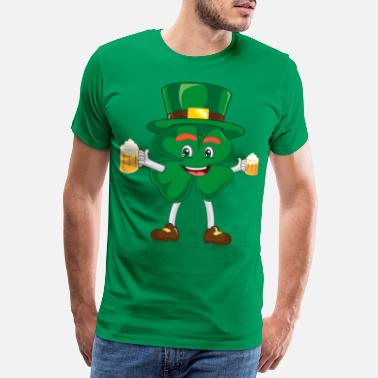 Irishman Shamrock cartoon with beer St. Patricks Day Kleebla - Men's Premium T-Shirt