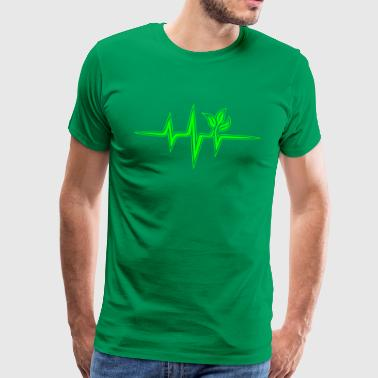 Vegan Heartbeat Frequency, Pulse, Heartbeat, Green - Men's Premium T-Shirt