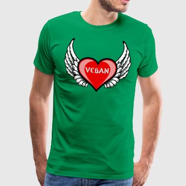 VEGAN ANGEL HEART - Premium-T-shirt herr