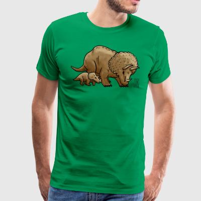 Triceratops with child - Men's Premium T-Shirt