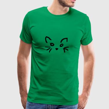 Cat's face with whiskers - Men's Premium T-Shirt