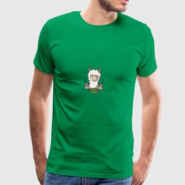 lama eats salad gift idea llama animal funny - Men's Premium T-Shirt