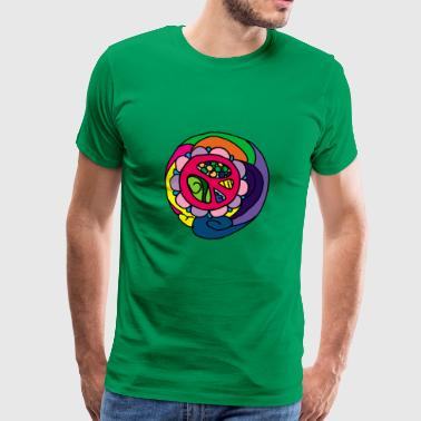 Psychedelic Peace Peace Symbol Flower Power - Herre premium T-shirt
