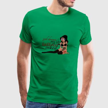 Sexy pinup girl with tattoos - Men's Premium T-Shirt