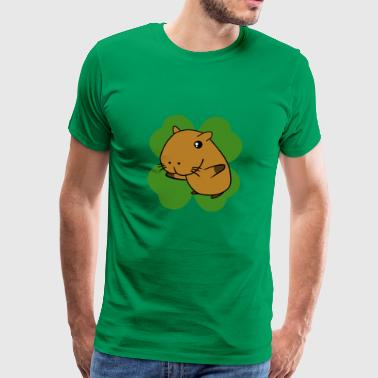 Capybara On 4 Leaf Clover T-Shirt - St. Patrick - Men's Premium T-Shirt