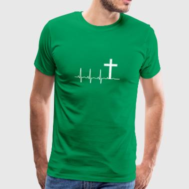 Christian Cross - Heartbeat - Church - Sunday - Men's Premium T-Shirt