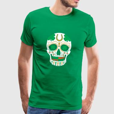 St. Patrick's Day Sugar Skull Shamrock Beer Parade - Men's Premium T-Shirt