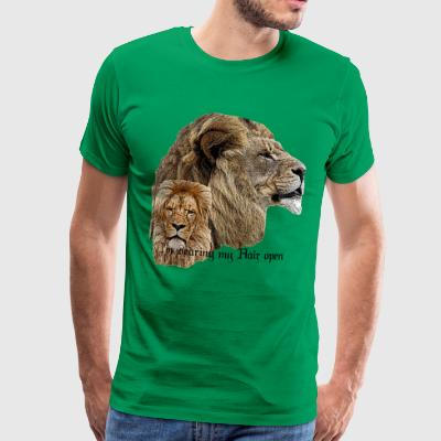 Lion, Long Hair, Cat, Big Cat, Lion, Fun, Fun, - Men's Premium T-Shirt
