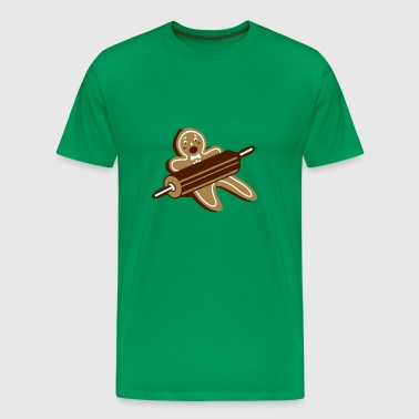 A rolling pin and a gingerbread man - Men's Premium T-Shirt